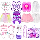 Girls Dress Up Costume Set, Jeowoqao Fairy and Mermaid Role Play Dress-up Trunk with Accessories 25pcs Girls Pretend Play Costume for Kids Age from 2-5