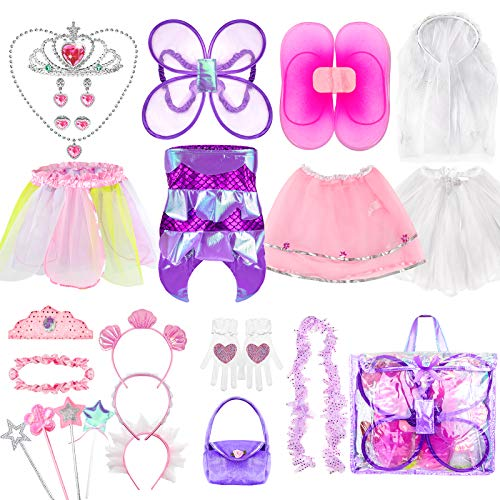 Girls Dress Up Costume Set, Jeowoqao Fairy and Mermaid Role Play Dress-up Trunk with Accessories 25pcs Girls Pretend Play Costume for Kids Age from 3-5