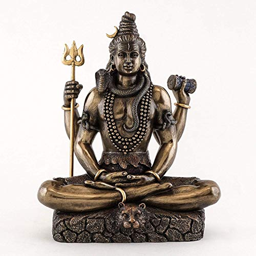 Parijat Shiva en Padmasana Lotus Pose - Estatua hindú en bronce fundido en frío