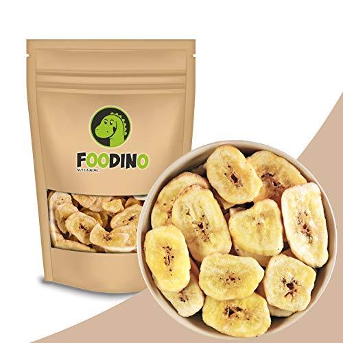 Bananenchips getrocknet ungezuckert ungeschwefelt geröstet ganz Bananen Chips ohne Zucker ungesüßt vegan Trockenfrüchte Trockenobst 500g - 5kg wiederverschließbar Premium Qualität FOODINO (1kg)