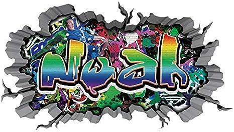 3d Wandtattoo Graffiti Wand Aufkleber Name Noah Wanddurchbruch Sticker Selbstklebend Wandbild Wandsticker Jungenddeko Kinderzimmer 11u054 Wandbild Grosse F Ca 47x25cm Amazon De Kuche Haushalt
