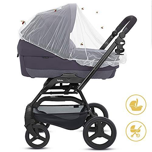 Insektenschutz für Kinderwagen, Mture Universal-Insektenschutz / Mückennetz, idealer Schutz vor Wespen & Stechmücken dank feinem Netzgewebe, reißfest & waschbar, Weiß