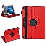 NAUC Schutzhülle kompatibel für Xido Z120 Z110 X111 X110 Tablet Tasche aus hochwertigem Kunstleder Universal 10.1 Hülle Standfunktion 360 Drehbar, Farben:Rot