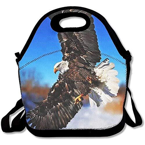 Greifvögel aus Neopren, bedruckt mit kahlem Adler, groß und dick, isolierte Lunch-Tasche, Kühltasche, warm, mit Schultergurt, für Damen, Teenager, Mädchen, Kinder, Erwachsene