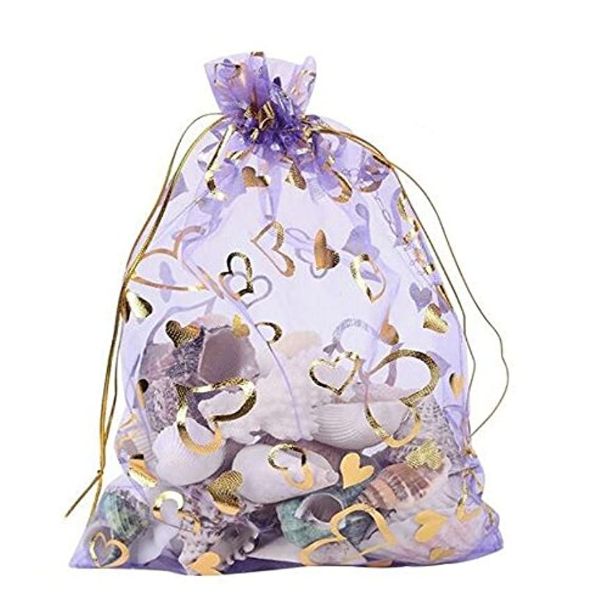 Tovip 100PCS 3.5x4.5'' (9x12cm) Organza Bags Jewelry Wedding Favors Party Pattern Printed Drawable Packaging Display & Gift Pouches (Light Purple Heart)
