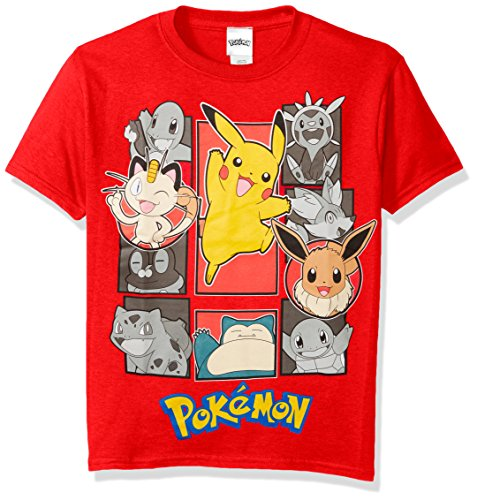 Pokemon Big Boys Pokemon Group Short Sleeve Tee, Red, Medium/10-12