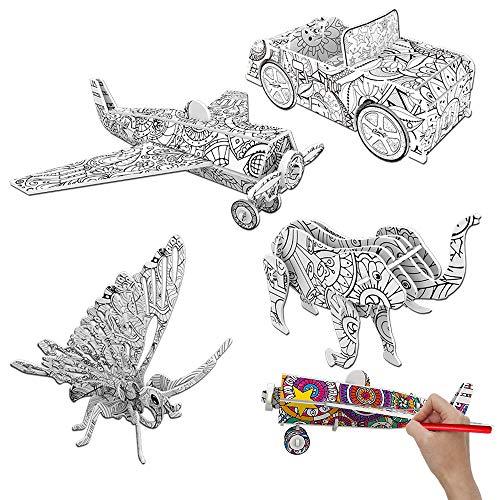 Rompecabezas para Colorear 3D, Juegos de Rompecabezas Color en 3D, DIY Arts Crafts Puzzle Kit, 3D Coloring Puzzle Set, Juego de Arte y Manualidades, Juguetes Educativos para Niños (B)