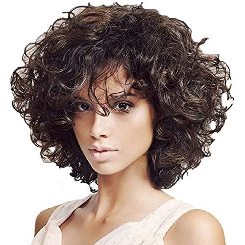 Pruiken Voor Vrouwen, Kort Krullend Golvend Bobo Braziliaans Afro-Haar Rose Net Pruik Hitte Bestendig Haar Van Synthetische Vezels 34Cm / 13.6