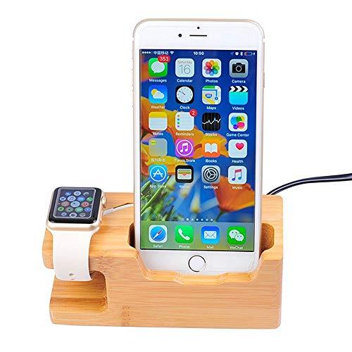 LANGYINH Apple Horloge Standaard, USB Bamboe Hout Oplader Stand Opladen Dock Station Cradle Houder, voor Apple Horloge Zowel 38mm en 42mm & iPhone 6 6 plus 5S 5