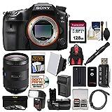 Sony Alpha A99 II Full Frame 4K Wi-Fi Digital SLR Camera Body & 24-70mm f/2.8 Zeiss Lens + 128GB Card + Backpack + Flash + Battery & Charger + Grip Kit