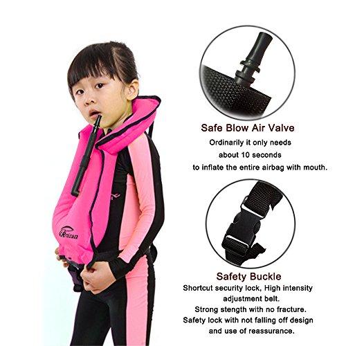 Rrtizan Children Portable Inflatable Life Jacket Snorkel Vest Swimming Life Vest...