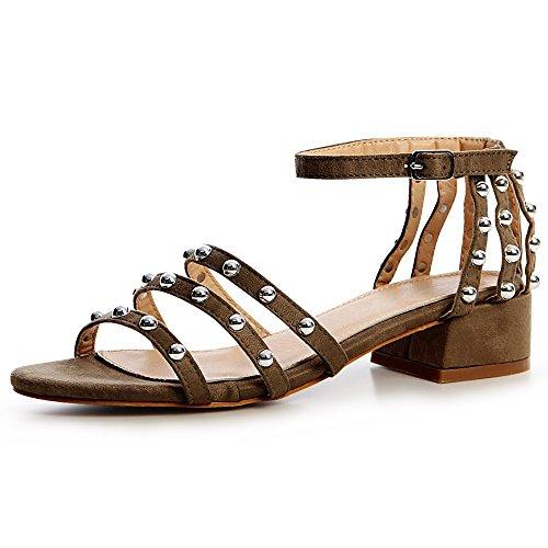 topschuhe24 1393 Damen Sandaletten Sandalen Riemchen Nieten, Größe:39 EU, Farbe:Oliv Grün