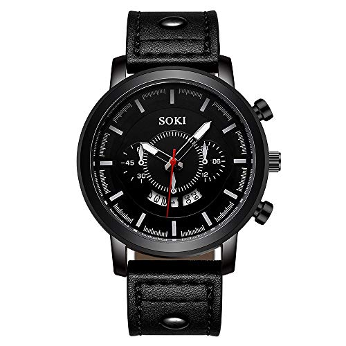 Hffan Herren Edelstahl Uhren, Männer Elegant Design Wasserdicht Kalender Goldene Uhr Unisex Business Mode Kleid Analog Quarz analog Armbanduhr