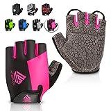 HTZPLOO Bike Gloves Cycling Gloves Mountain Bike Gloves for Women with Anti-Slip Shock-Absorbing Pad,Light Weight,Nice Fit,Half Finger Biking Gloves (Pink,Medium)