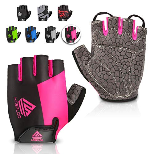 HTZPLOO Bike Gloves Cycling Gloves Mountain Bike Gloves for Women with Anti-slip Shock-absorbing Pad,Light Weight,Nice Fit,Half Finger Biking Gloves