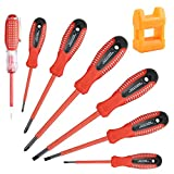 uoboeuq 7 Pcs Insulated Electrician Screwdriver Set Slotted and Phillips Insulated Screwdriver Set with Magnetic Tip, Test Pen Electroprobe and Carry Case