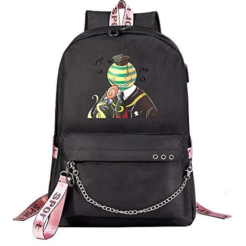 ZZGOO-LL Assassination Classroom With chain USB Anime Zaini backpack Scuola per Uomo Donna, Lavoro, Tablet Unisex Black-E