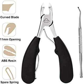Large Toenail Clipper Cutter for Thick Toe Nails Men Seniors Elderly Stainless Steel,Ingrown Toenail Tool Nipper Wide Opening Professional Podiatrist with Lifter for Diabetic Tough Nails Curved Blades