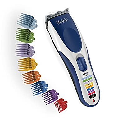 Wahl Clipper Color Pro Cordless Rechargeable Hair Clippers, Hair trimmers, 21 pieces Hair Cutting Kit, Color Coded guide combs For Women, Men, Kids and Babies By The Brand used by Professionals. #9649