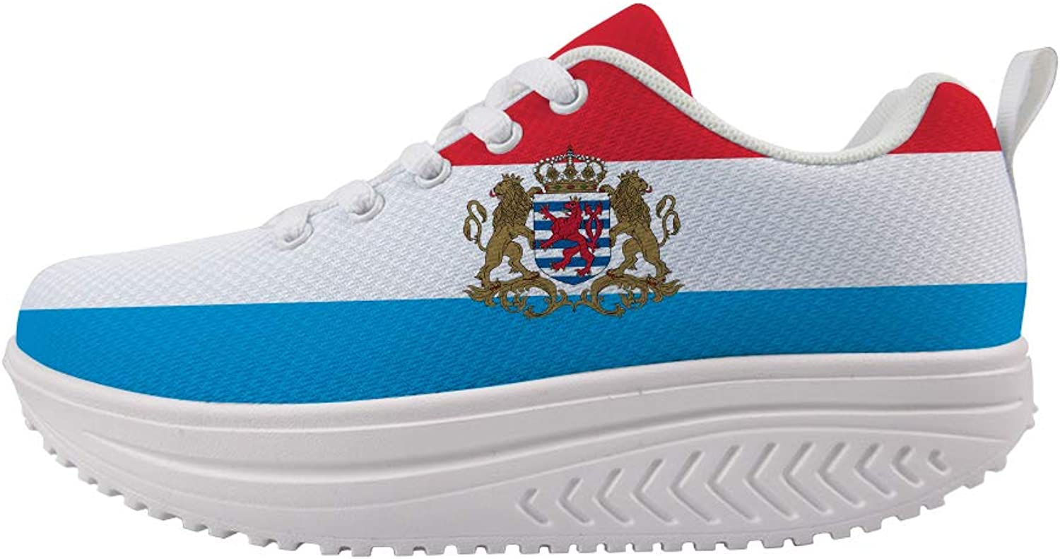 Owaheson Swing Platform Toning Fitness Casual Walking shoes Wedge Sneaker Women Luxembourg Flag National Emblem