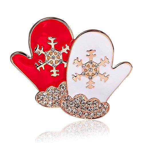 NLRHH Europa und die Vereinigten Staaten Weihnachtshandschuhe Diamantschnee Dreidimensionale Brosche Persönlichkeit Exquisite Paar Handschuhe Brosche Kragen Pin Schmuck DIY Peng