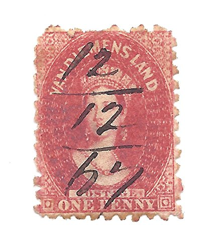 1864 Tasmania Postage Stamp 1 Penny Brick Red Scott #23 Queen Victoria