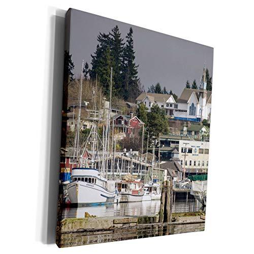 3dRose Danita Delimont - Trish Drury - Harbors - USA, Washington, Kitsap Peninsula. Town of Poulsbo and marina. - Museum Grade Canvas Wrap (cw_192049_1)
