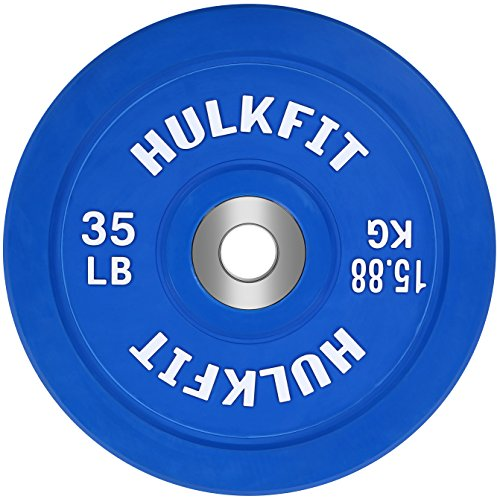 HulkFit Color Coded Olympic 2-Inch Rubber Bumper Plate with Steel Hub for Strength Training, Weightlifting and Crossfit, Single (35 Pounds), Blue