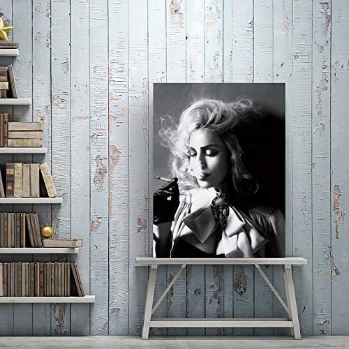 tzxdbh Modern Zwart en Wit Poster Prints Wall Art Canvas Schilderen Mooie Vrouwen Roken Sigaretten Foto's voor Woonkamer Decor-in van G WW01 50x70cm No Frame