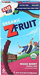 CLIF KID ZFRUIT - Organic Fruit Rope - Mixed Berry Flavor - (0.7 Ounce Rope, Lunch Box Snacks, 6 Cou