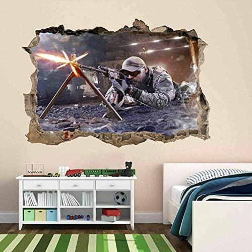 Francotirador Soldado Ejército Militar Guerra 3D Etiqueta de la pared Mural Calcomanía Niños Niños Habitación 60x90 cm