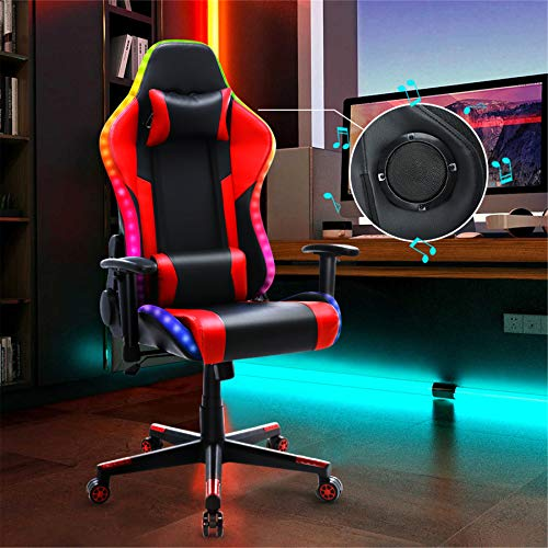 Gaming Chair with Bluetooth Speakers RGB LED Lights, Music Video Game Chair, Ergonomic PU Leather High Back Computer Chair, Adjustable Reclining Racing Office Swivel Chair for Adult Teens (Red)