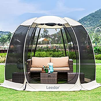 Leedor Gazebos for Patios Screen House Room 4-6 Person Canopy Mosquito Net Camping Tent Dining Pop Up Sun Shade Shelter Mesh Walls Not Waterproof Beige,10 x10