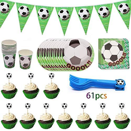 JAHEMU Vajilla cumpleaños fútbol Party SuppliesIncluye Pancartas, Platos, Tazas, Servilletas, Tenedores, Cake Topper para Decoraciones de Fiesta Niños Cumpleaños (61 piezas)
