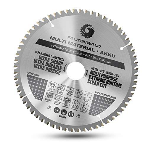 FALKENWALD® Kreissägeblatt 216x30 mm (Akku) Sägeblatt für Kappsäge, Tischkreissäge und Handkreissäge - Sägeblatt 216 mm (Multi) - Kompatibel mit Bosch Tischkreissäge GTS 635-216, Bosch PCM 8