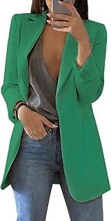 OLIPHEE Womens Casual Long Lapel Blazer Tailored Open Front Lightweight Work Office Cardigan Blazer