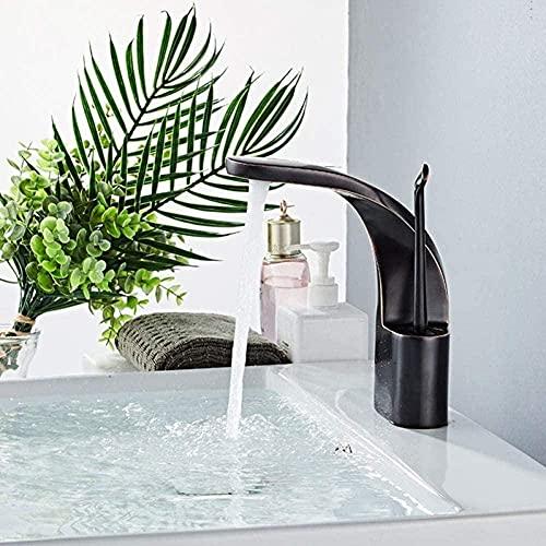 Grifo para lavabo, grifo para baño, dorado/negro, grifo para lavabo, aceite, latón, una manija, una sola manija, grifo de encimera frío y caliente