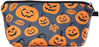 Beaupretty Makeup Toiletry Pouch Pumpkin Printing Cosmetic Bag Zippered Halloween Customized Cosmetic Bag for Women Storage