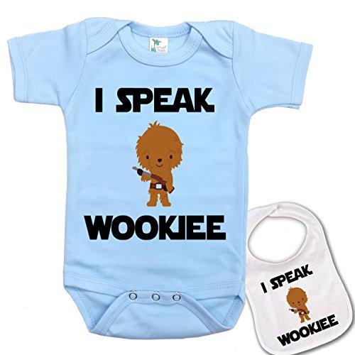 I Speak Wookee Star Wars Baby Bodysuit Onesie & Matching bib Blue