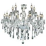 10+5-flammig Transparent Kristall Hängeleuchte Klassisch Kronleuchter Pendelleuchte Deckenleuchte antik Kristall