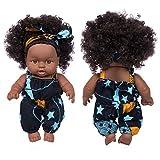 yasu7 Africano Negro Bebé Juguete con Pelo Rizado Navidad Simualtion Cartoon Doll, Lindo Mini Niños ...