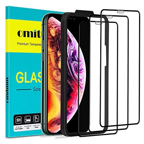 omitium Protector Pantalla para iPhone 11 Pro MAX, [3 Pack] Cristal Templado iPhone XS MAX Marco de Alineación Incluido...