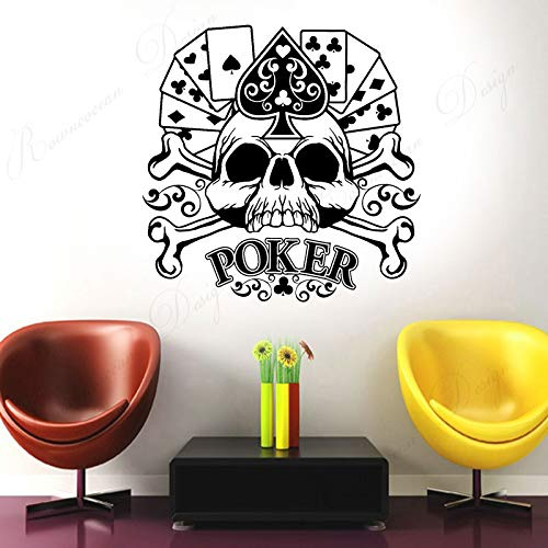 yaofale Poker Card Gambler Skull Wall Sticker Vinyl Home Decor Room Casino Vinyl Wall Decal Decoration Removable Mural