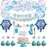 Herefun Decoración de Cumpleaños para Niña, Frozen Fiesta Cumpleaños Decoración, Fiesta de Cumpleaños con Pancarta de Feliz Cumpleaños, Decoraciones Fiesta Cumpleaños