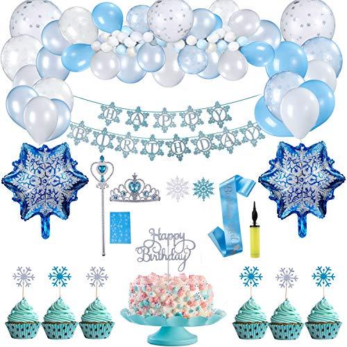Herefun Decorazioni Feste Compleanno Fiocchi Neve, Frozen Compleanno Decorazioni Blu, Buon Compleanno Ghirlanda Balloons Banner Cupcake Topper, Bambini Compleanno Decorazione