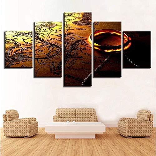 SESHA 5 Piezas Lienzo Poster Cuadros Modernos Impresión De Imagen Artística Digitalizada Anillos Y Tarjeta(Enmarcado)