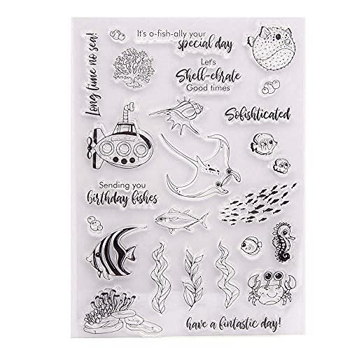 GIVBRO Sellos de silicona transparente Sellos Pegatinas Puffer Fish Embossing Template Cangrejo Caballito de mar Plantas Acuáticas Stencil Moldes Scrapbooking DIY Herramientas de manualidades