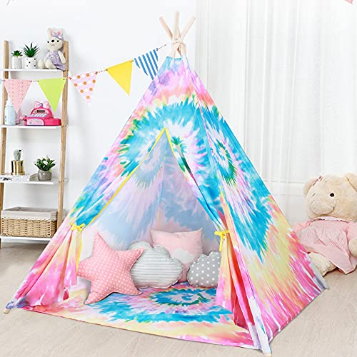 Tacobear Tipi Infantil Tie Dye Tipi Tienda Tipi Indio para Niños Tienda Campaña Tipi Grande Casa de Juegos para Interiores para Niños Niñas