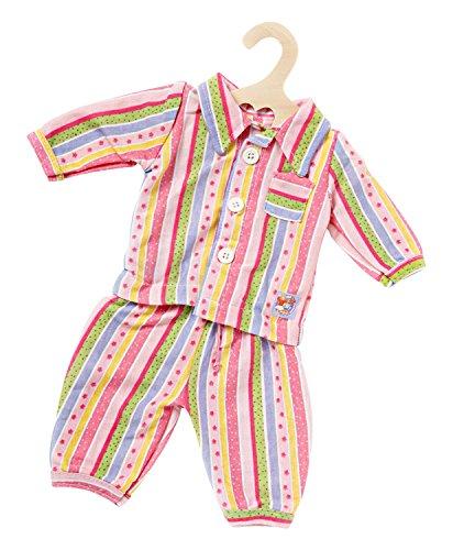 Heless 2675 - Bekleidungs-Set für Puppen, 2 teiliger Pyjama im Streifendesign mit Oberteil und Hose, Größe 28 - 35 cm