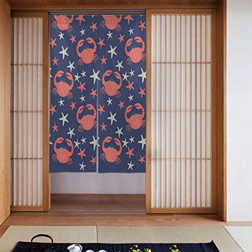 Cyloten Cartoon Crab and Starfish Doorway Curtain Door Hanging Tapestry Lightweight Partition Door Curtains Privacy Home Decor Window Drapery for Bistro Fitting Room Kitchen Closet